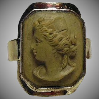 Victorian(1837-1901) Grand Tour Lava Cameo set in Modern 14 Carat Gold Ring