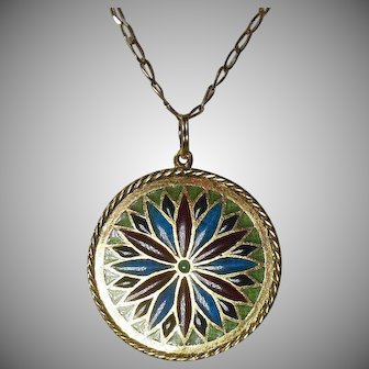 French Plique A Jour and 18 Carat Gold(750/1000)- Rose Window Pendant/Charm