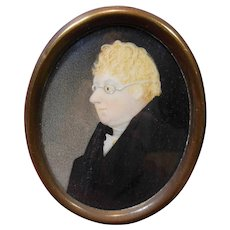 Early Antique 1800's English Portrait Miniature of Gentleman Wearing Spectacles