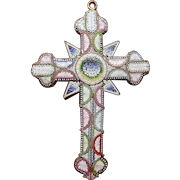 Large Vintage Micro Mosaic Cross Pendant/Decorative Art