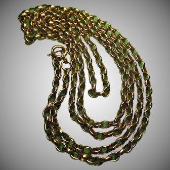 "9 Carat Gold(.375) Belcher Neck Chain Vintage English HM 30.75""(78 cm)"