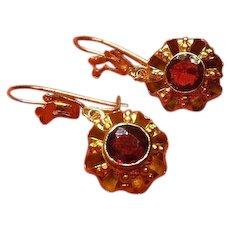 Victorian (1837-1901)- 14 Carat Gold(.585) and Garnet Earrings