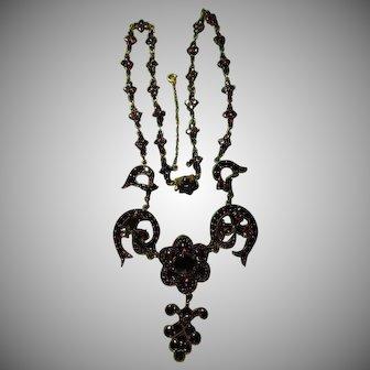 Antique Victorian Bohemian Garnet Fringe Necklace