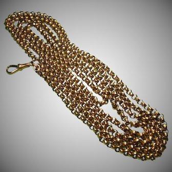 "9kt Gold Antique Edwardian English Belcher Guard Neck Chain-58""-43.8 Gram"