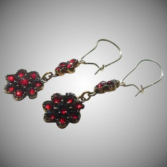 Antique Bohemian Rose Cut Garnet Dangle Earrings