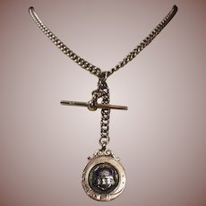 Antique 9 kt Rose Gold Double Albert Watch Chain and Enameled Fob/Pendant/Charm-Neck Chain 1890-1915