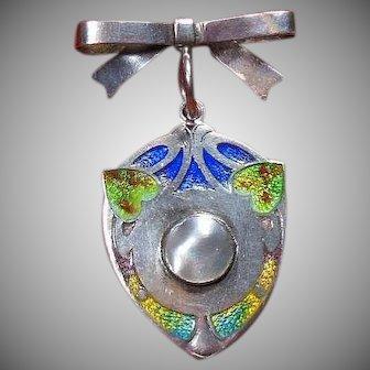 Edwardian Art Nouveau Enamelled Sterling Silver Shield Pendant-English HM 1908-9