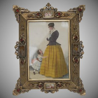 19 th Century French Renaissance Porcelain and Gilt Brass Easel Photograph Frame with Fashion Lady and Child Print Ca.1870