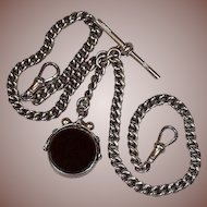 Antique Late Victorian/Edwardian English 9 ct Rose Gold Double Albert Watch Chain/Necklace with Spinner Fob/Charm