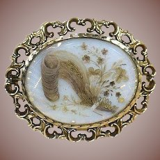 Fine Antique 9 kt Gold English Mourning Brooch- Circa 1870