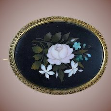 Antique Victorian 9kt Gold- Pietra Dura Rose Mosaic Brooch-Circa 1870's
