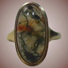 9 Carat/Karat Gold and Moss Agate Dress Ring- English HM