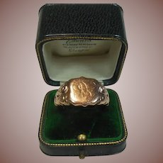 9 Carat/Karat Rose Gold Signet Ring English Hm Circa 1890-1915