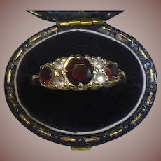 Antique Garnet and Diamond 9 Carat/Karat Gold English Hallmark