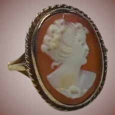 Antique Carved Shell Cameo Lady Ring set in 9 Carat/Karat Gold English 1897HM