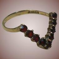 9 Carat/Karat Gold and Bohemian Garnet Wishbone Ring English Hm