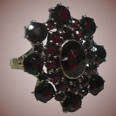 Bohemian Garnet and 10 Carat/Karat Gold Dress Ring Circa 1930's
