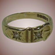9 Carat/Karat Gold and Diamond Buckle Band Ring English Hallmarked