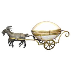 Antique Palais Royal Mother Of Pearl and Brass-Trinket-Thimble-Keepsake Carriage Napoleon III