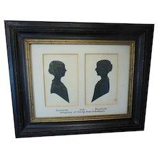 Antique 19th Century Double (Cut Paper) Silhouette Profiles of Scottish Ladies