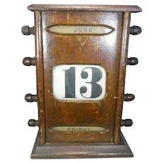 Antique English Fruitwood Perpetual Calendar Circa 1880-1900