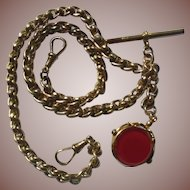 Antique 9 ct/kt Rose Gold Double Albert Watch/ Neck Chain & Fob
