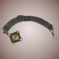 Antique Sterling Silver Mesh Watch Chain and Compass Fob