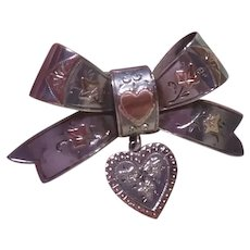 Victorian Sterling Silver & Gold Bow & Heart Sweetheart Brooch