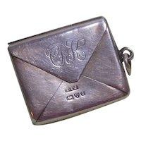 Antique Sterling Silver Stamp Envelope Charm/ Pendant
