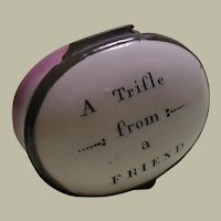"""Antique 18Th Century Staffordshire Bilston Enamel Patch Box """"A Trifle From A Friend"""""""