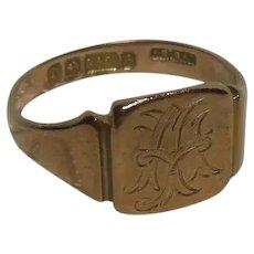 9 Kt Rose Gold Signet Ring-English Hallmarked