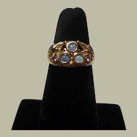 14 Kt Gold & 3 Pave Set Opals & Pink Sapphire Dress Ring