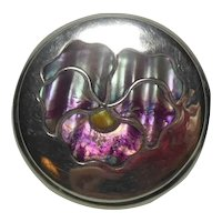 Sterling Silver & Inlay Shell Pansy Trinket/Pill/Keepsake Box