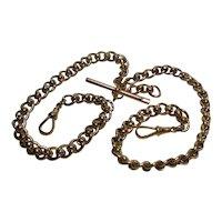 "9 Kt Rose Gold Double Albert Watch/Neck Chain-T-bar-Double Clip 17.3 Gram-15"""