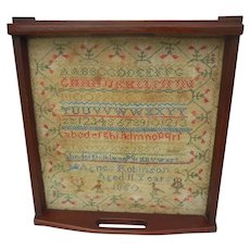 Antique Sampler Alphabet & Numbers with Flower Borders Signed & Dated 1850