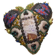 Lovely Beaded Birthday Wishes Antique Heart Pin Cushion