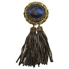 Antique Gilt Gold Metal & Fringe- Satin Ribbon Badge/Pin/Brooch with letter C