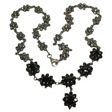 Sterling Silver Garnet & Marcasite Necklace