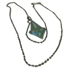 Art Nouveau Enamel Pendant & Silver Chain