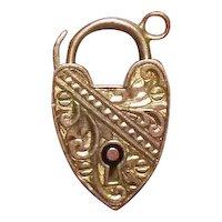 Heart Padlock Charm-Pendant 9 KT Gold