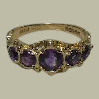 Lovely Vintage 9 Kt Gold & Amethyst Half Hoop Dress Ring English HM