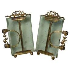 French Antique Beveled Glass & Ribbon Gilt Metal Ormolu Photo Frame Pair