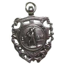English Sterling Silver Trophy Sporting Fob/Pendant/Charm-Cricket