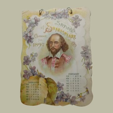 1897 Antique Sayings Calendar of Shakespeare