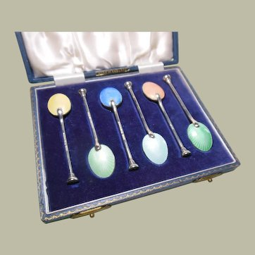 Sterling Silver & Enamel Demi-Tasse Spoons-Boxed-English HM