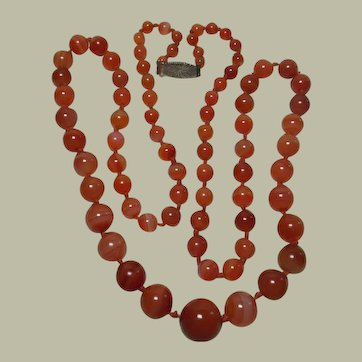 """Beautiful Vintage Banded Agate Bead Necklace- 36"""""""