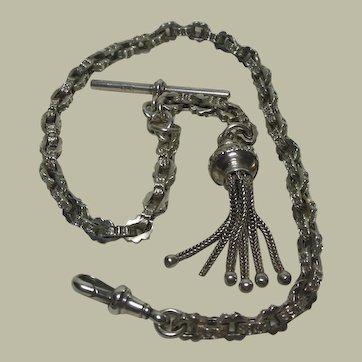 Sterling Silver Albert/Albertina Watch Chain-T Bar-Dog Clip & Tassel