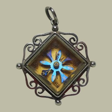 Sterling Silver Cased Compass Pendant/Charm