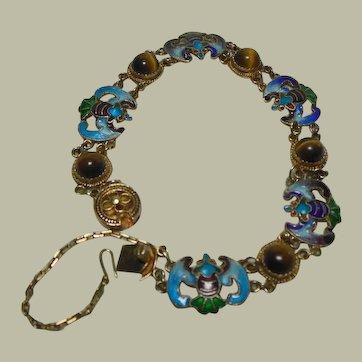 Vintage Gilt Silver & Enamel& Tiger Eye Bracelet