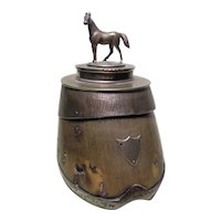 Victorian Horse's Hoof Table Snuff Box with Silver Plated Lid and Mounts